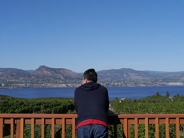 Husband of Vancouver beauty and lifestyle blogger Solo Lisa looks at the view of Okanagan Lake from JoieFarm Winery in Naramata Bench, Okanagan, BC wine country