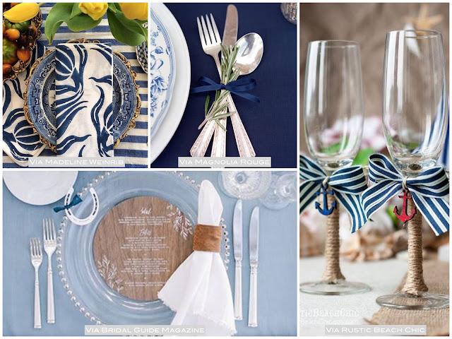 decoração mesa simples azul