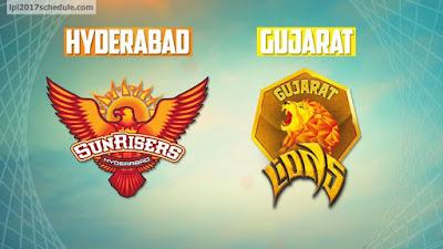 Sunrisers Hyderabad vs Gujarat Lions IPL 2017 Match Prediction