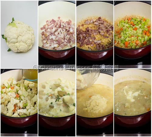 椰菜花周打湯製作圖 Cauliflower Chowder Procedures