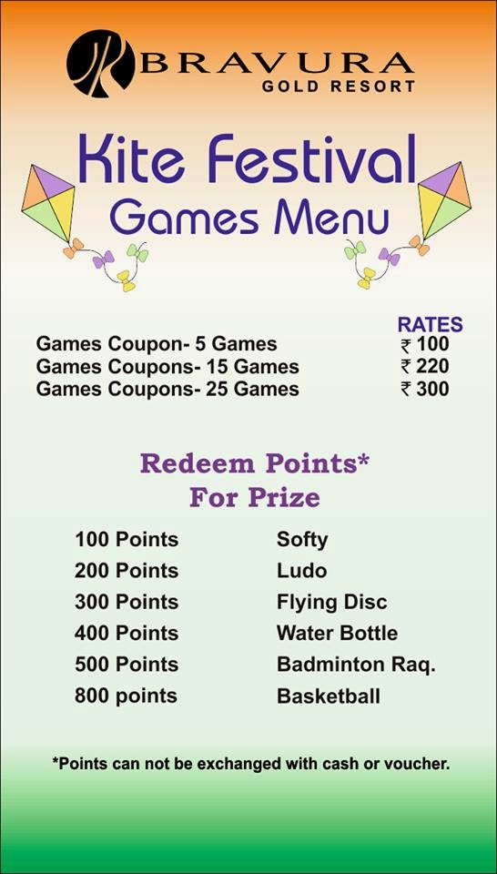 Enjoy Kite Festival Games Menu
