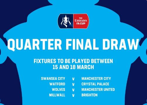 Jadwal Perempatfinal Piala FA: Wolves vs MU,Swansea vs Man City