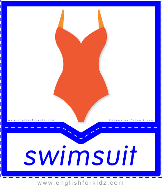 Swimsuit - English clothes and accessories flashcards for ESL students