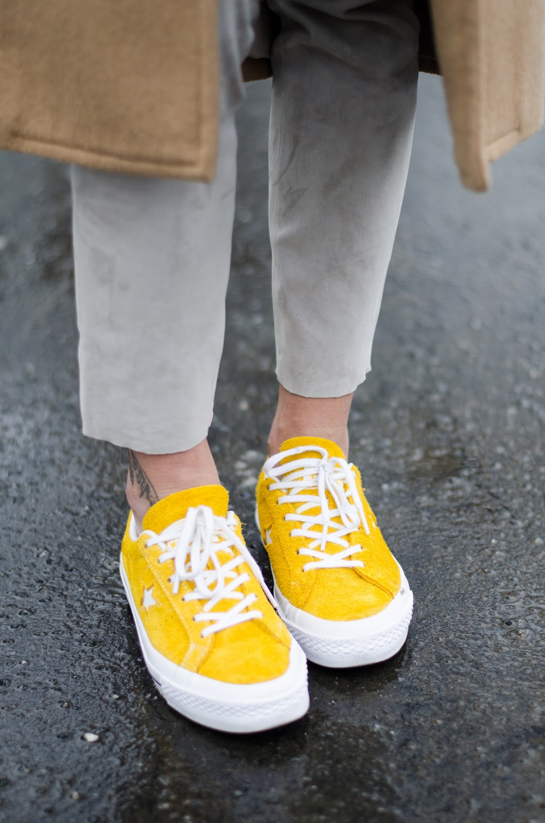 yellow suede converse sneakers