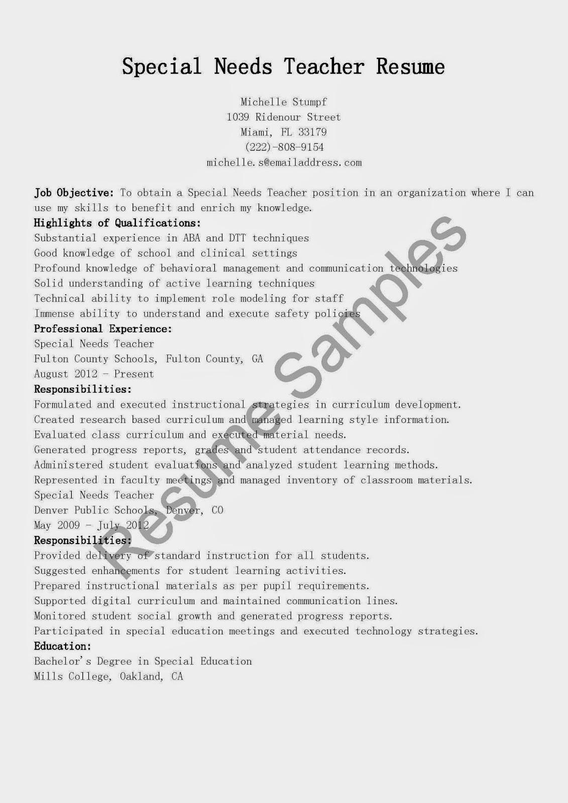 Resume Samples Special Needs Teacher Sample Best