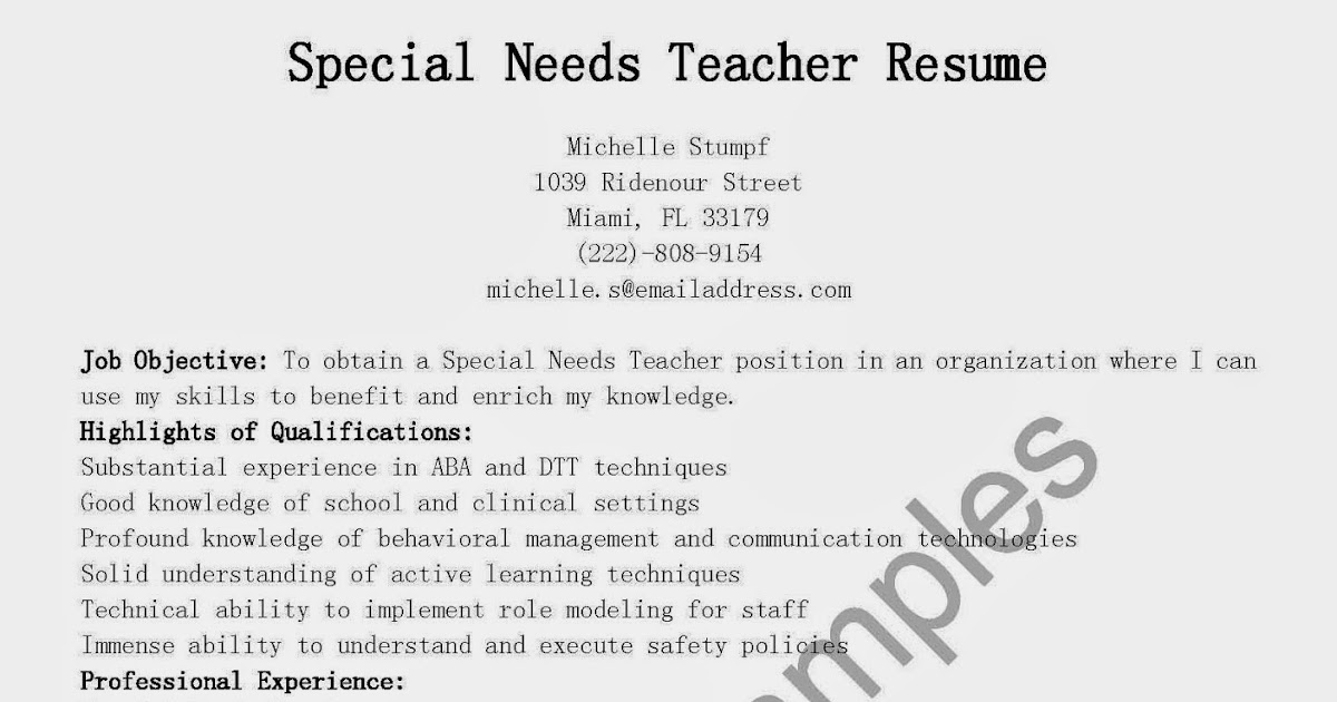 Resume Samples Special Needs Teacher Resume Sample
