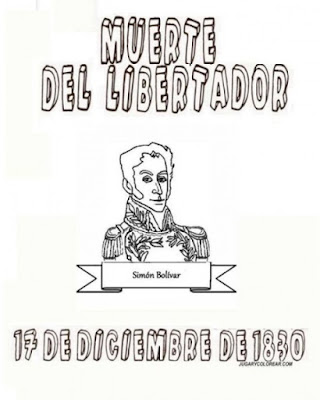 dibujo muerte de Simón Bolívar