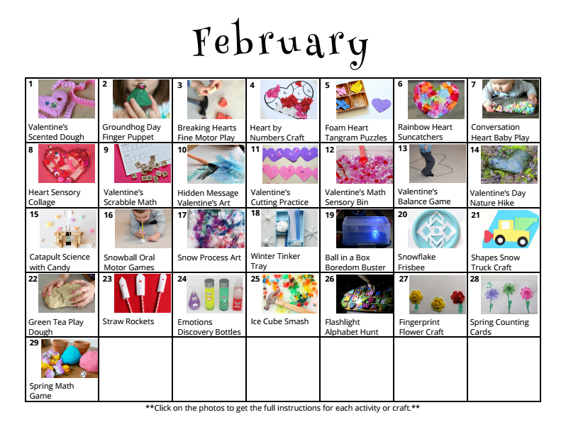 February Calendar Kids : February activities for kids free activity calendar