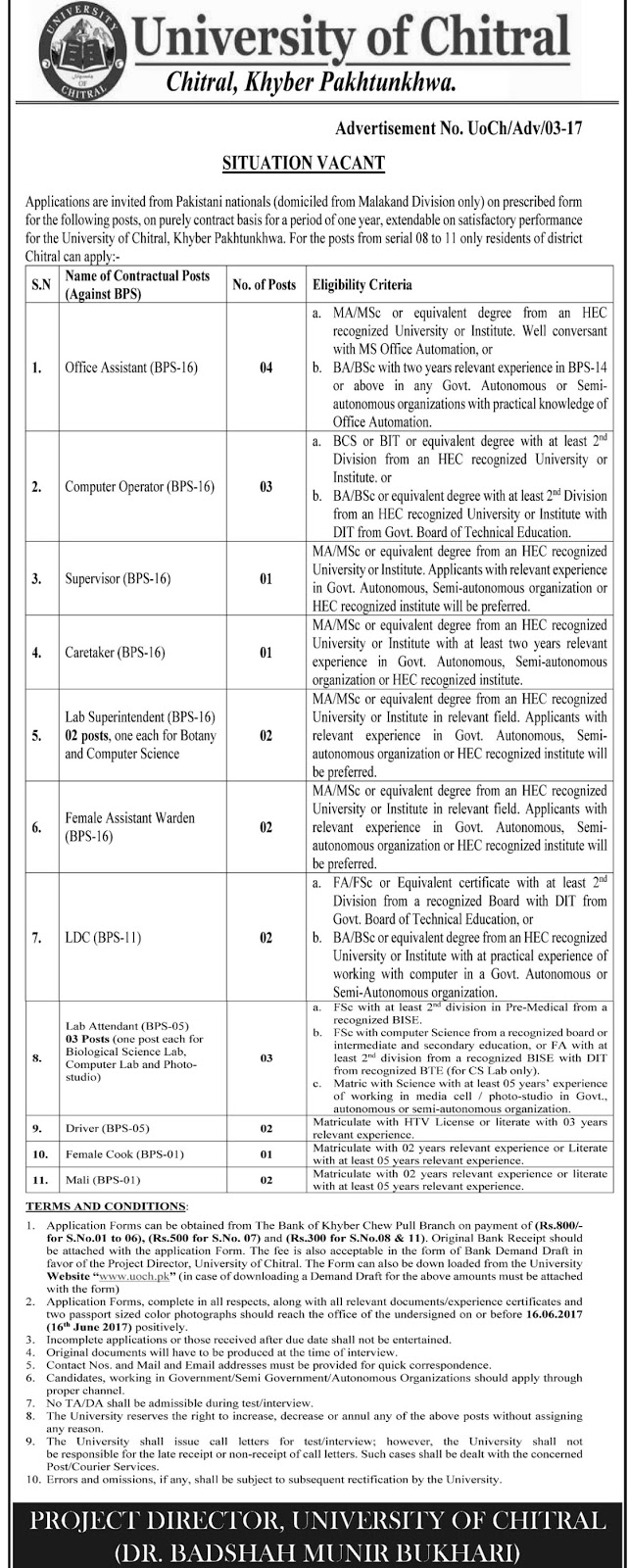 Jobs In University of Chitral KPK  3 Jun 2017
