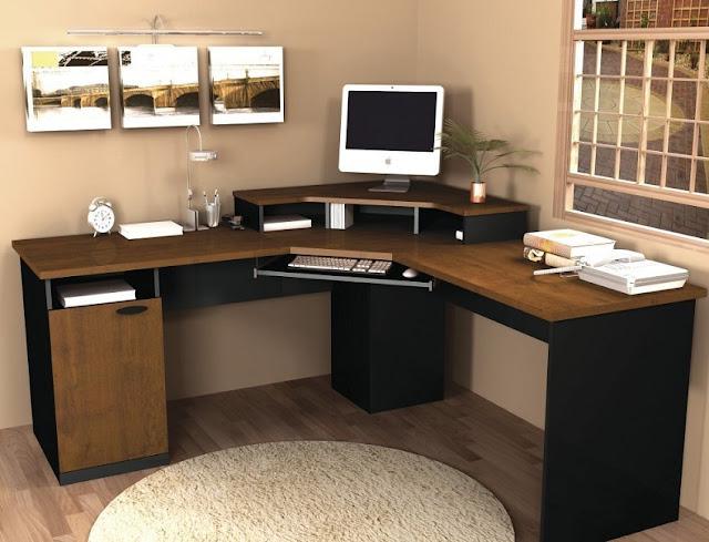 corner wooden home office computer desk images