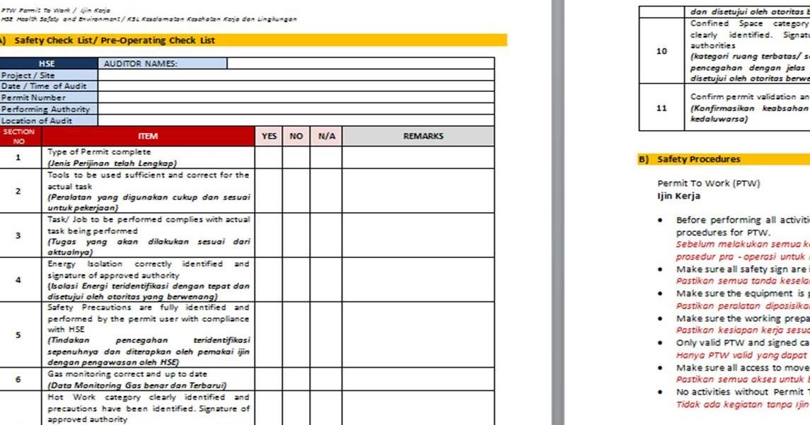 dokumen sistem manajemen  paket formulir kosong  blank