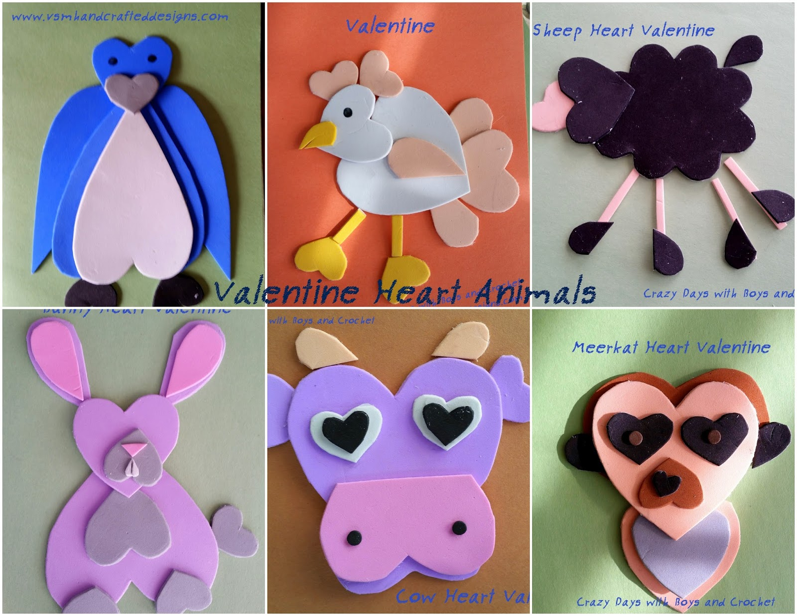 VSM Handcrafted Designs: More Heart Animal Valentines