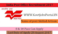 India Post Recruitment 2017– Skilled Artisan