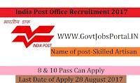 India Post Recruitment 2017– Skilled Artisan