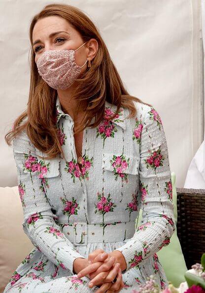Kate Middleton wore Emilia Wickstead Aurora belted floral print cotton blend seersucker dress and Castaner Carina canvas wedge espadrilles