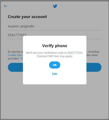 Verify Phone number and click ok