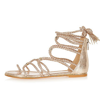 River Island Gold Tone Gladiator Sandals