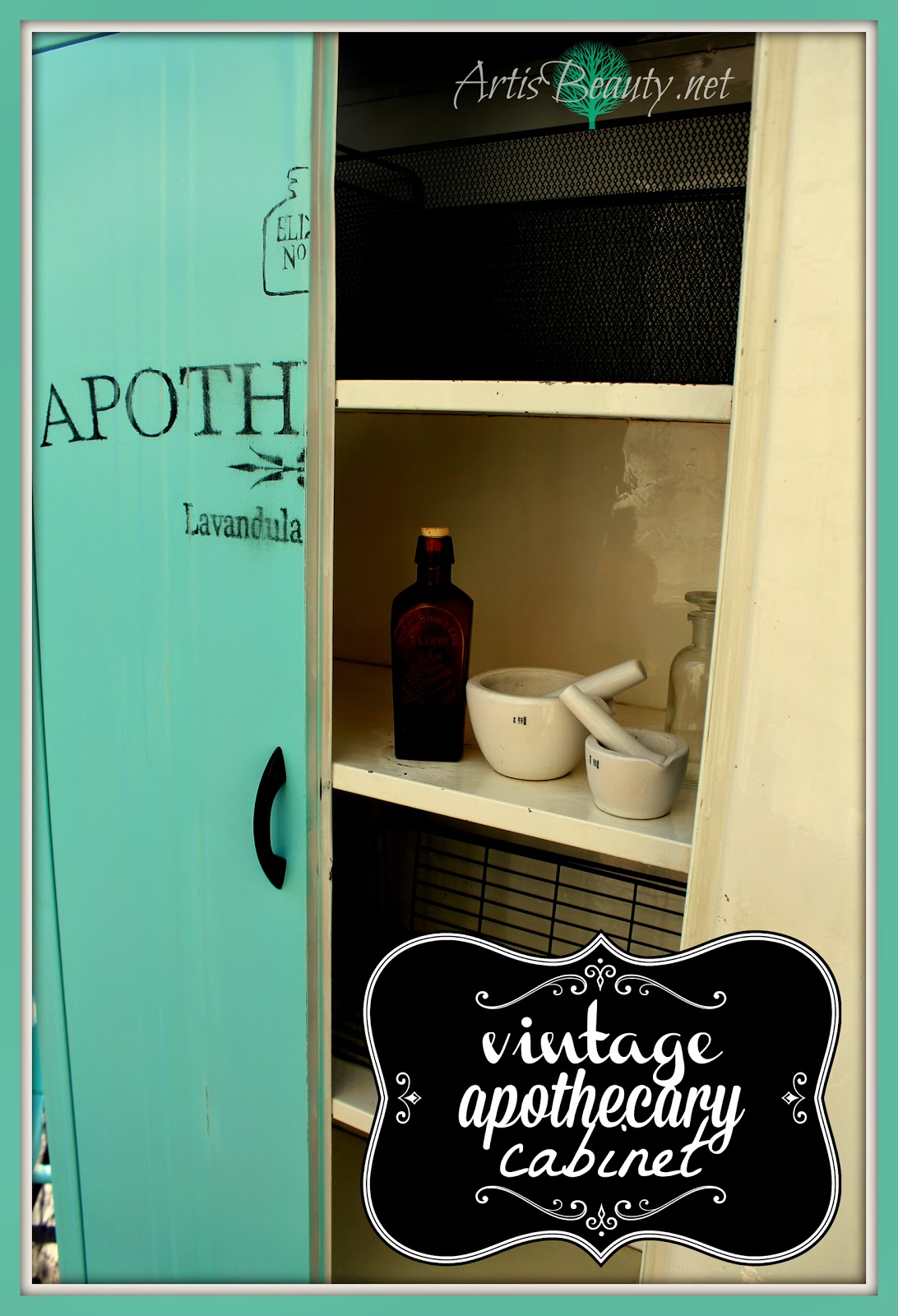 vintage-metal-apothecary-cabinet-with-graphic-art-is-beauty