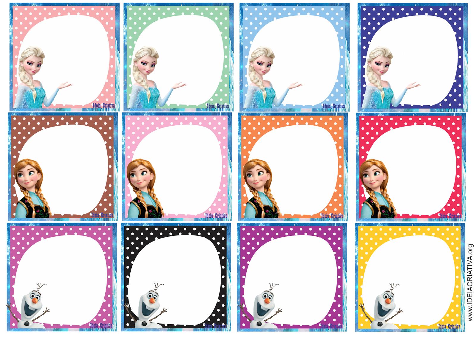 Etiquetas para organizar material escolar Frozen Olaf Anna e Elsa