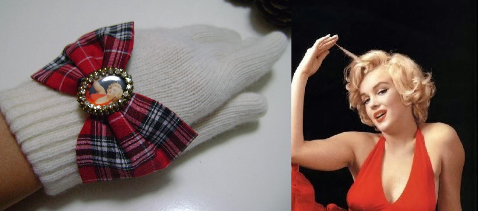 Marilyn Monroe kırmızı ekose fiyonk krem eldiven