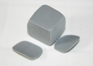 Polymer Clay Beads - I sliced away the side of the bead to make them more square with sharper edges