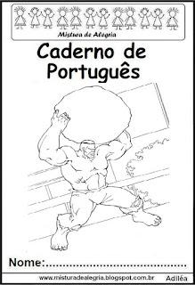 Capa para caderno de português- Hulk