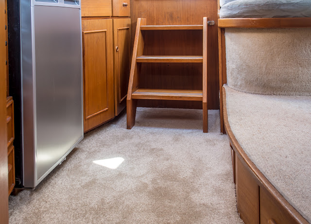 Photo of the newly fitted galley carpet