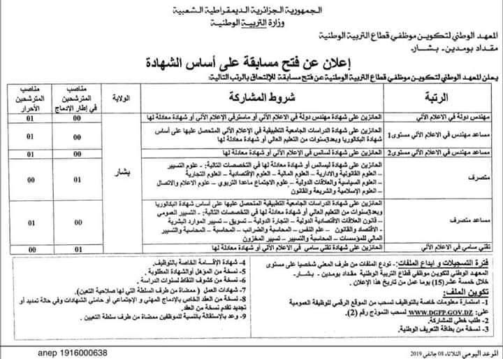 إعلان توظيف في المعهد الوطني لتكوين موظفي قطاع التربية الوطنية بشار جانفي 2019