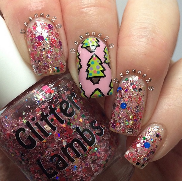 "Glitter Lambs ""Christmas Jelly Roll"" glitter topper nail polish worn by @Deanne29"