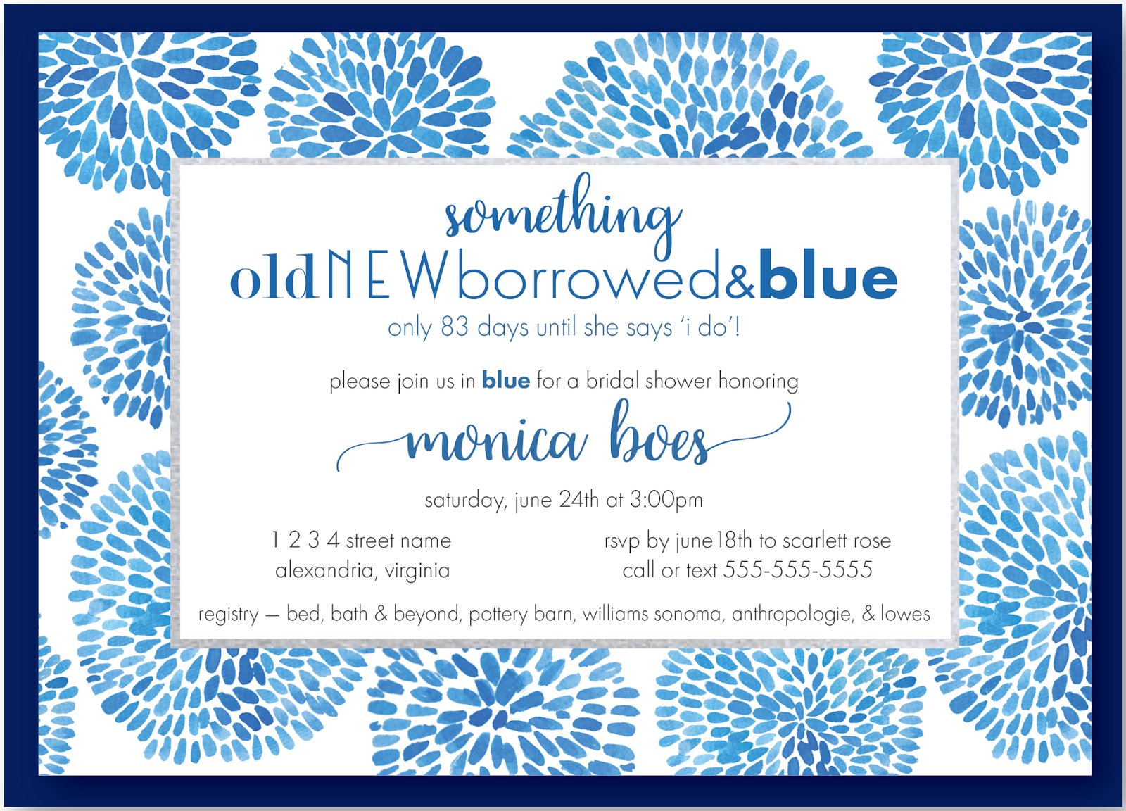something blue bridal shower invite