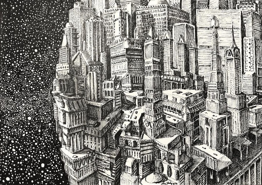 13-The-City-in-the-Stars-Tim-Stokes-Fantasy-and-Real-Life-Architecture-Drawings-www-designstack-co