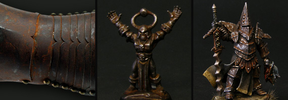 Title card of the tutorial, showing a photo reference with a rusted gauntlet and two painted miniatures showing the final effect of the whole process.