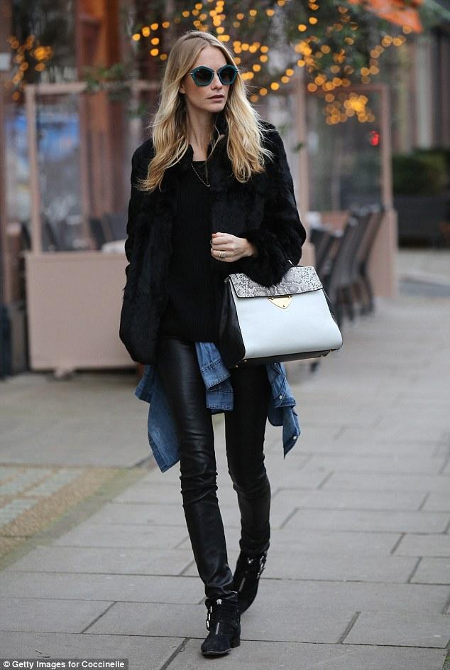 Poppy Delevingne Style Fur Jacket Leather Leggings Coccinelle B14 Bag
