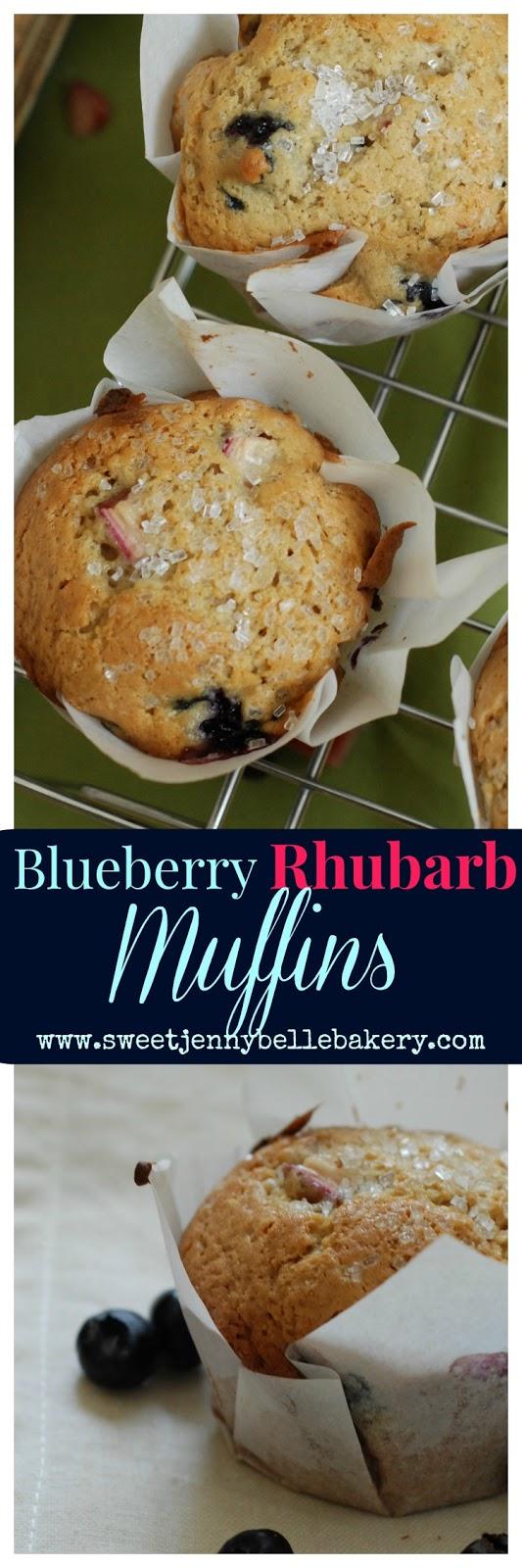 easy blueberry rhubarb muffin recipe
