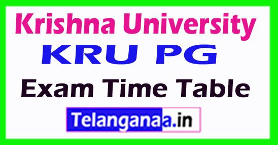 Krishna University KRU PG Exam Time Table