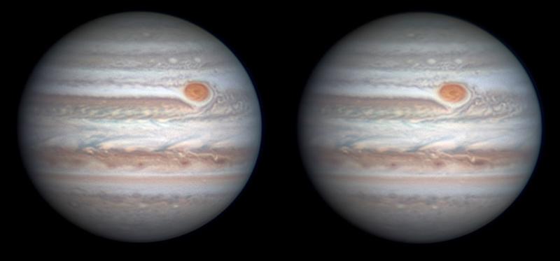 """Christopher Go chụp hai hình ảnh này của Sao Mộc, mỗi ảnh cách nhau 22 phút. """"Vết Đỏ Lớn của Sao Mộc có màu đỏ đậm hơn và hiện đang tác động lên South Tropical Disturbance (tạm dịch: Vùng nhiễu loạn khí quyển nhiệt đới phía nam), là dải mây màu xám nhạt ở ngay bên trên phía trái của nó. Hiện cũng có sự nhiễu loạn đáng kể ở những dải mây tại vành đai xích đạo bắc,"""" tác giả ảnh cho biết."""