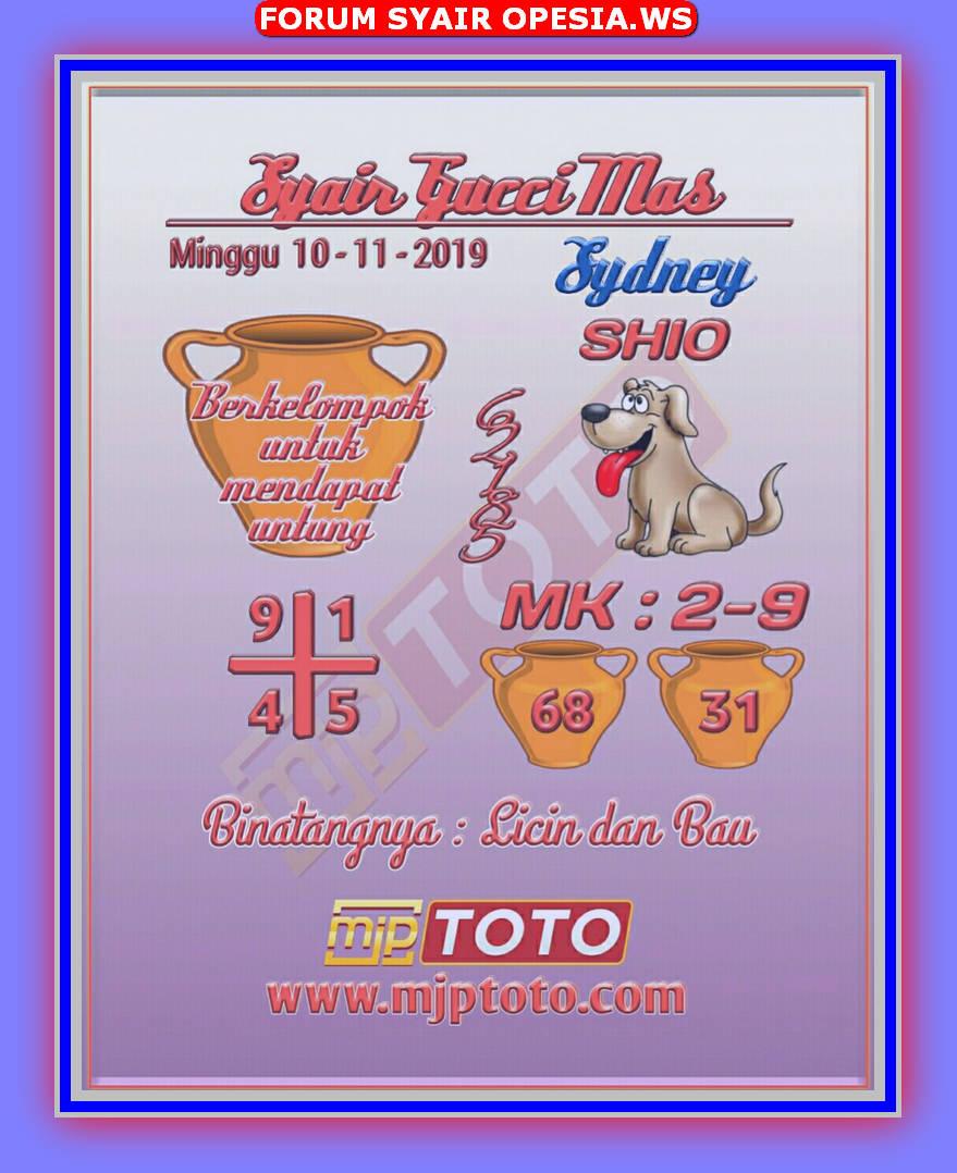 Kode syair Sydney Minggu 10 November 2019 7