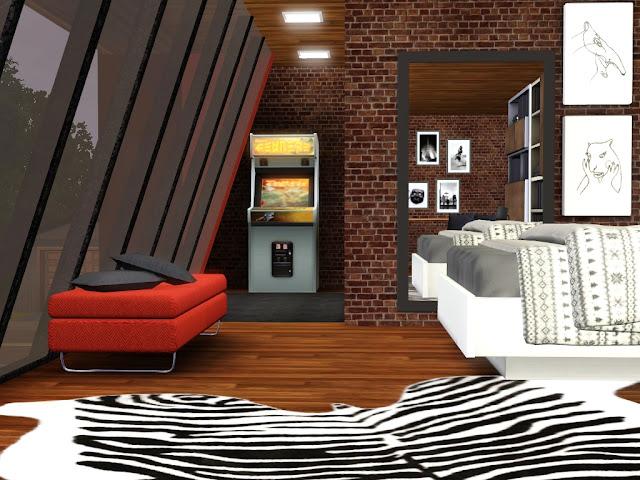 chambre déco loft sims 3