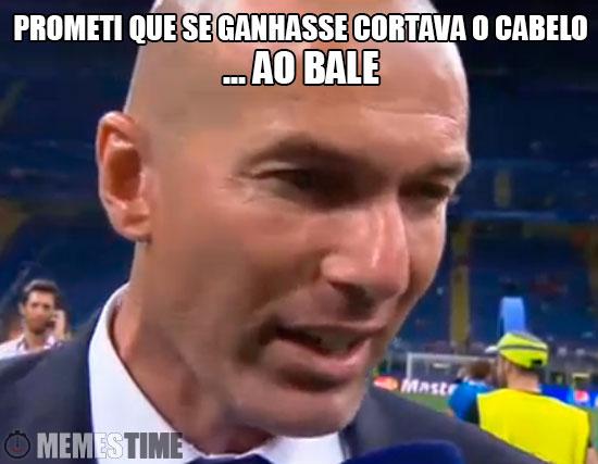 Meme Zidane na Final da Champions – Prometi que se ganhasse cortava o cabelo ao Bale