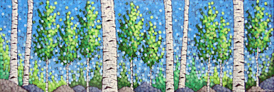Spring on the Lake Superior Trail painting by artist aaron kloss, lake superior trail, sivertson gallery, painting of birch in spring, square painting, pointillism