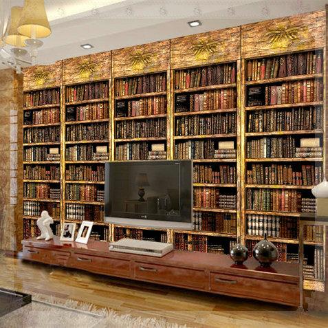 tapet bokryggar bokhylla mönster vardagsrum