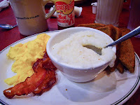 Typical Southern Breakfast: grits, eggs, bacon and toast.