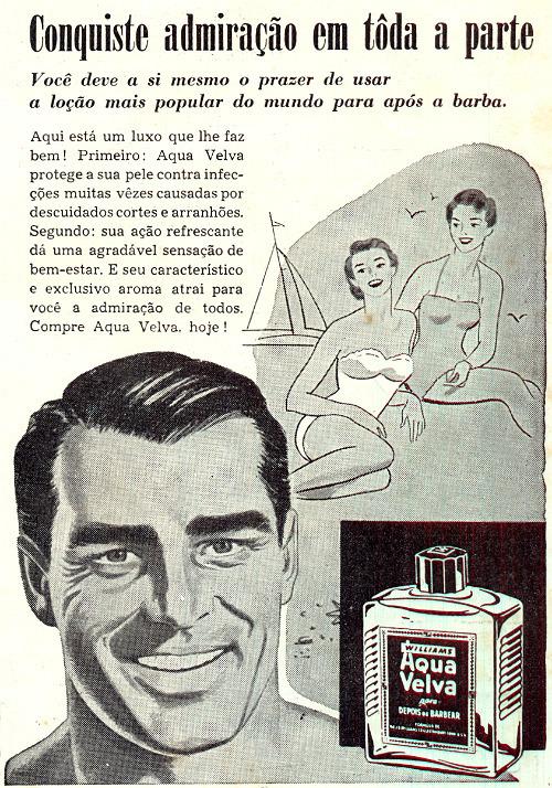 Propaganda antiga veiculada nos anos 50 para promover a loção pós-barba Aqua Velva