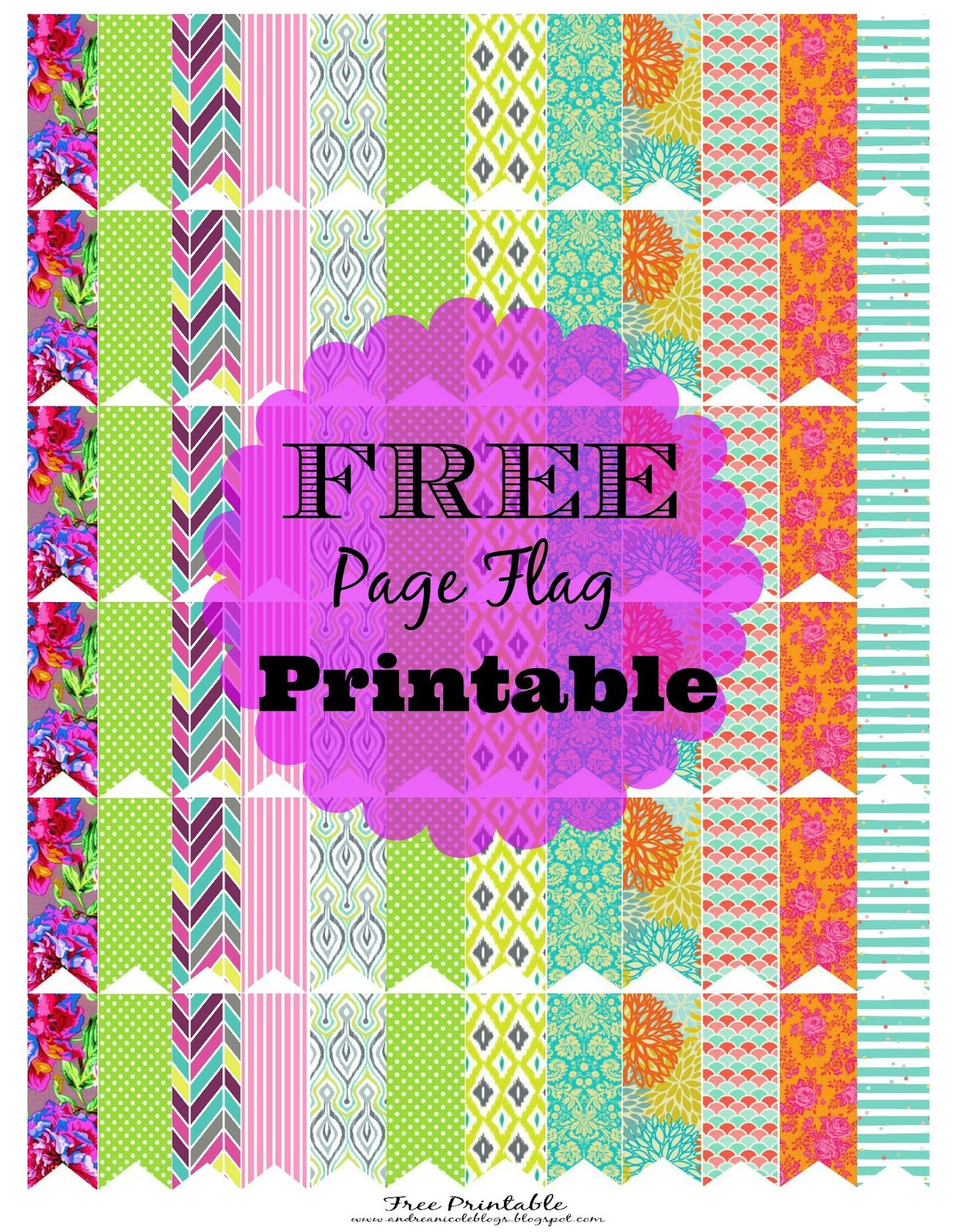 Andrea Nicole Friday Printable Freebie Page Flags