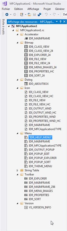 Ressrouces de l'applciation MFC C++