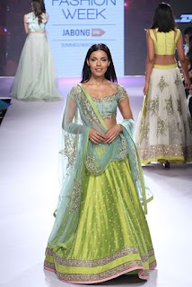 Green designer Lehnga Designs for Festival