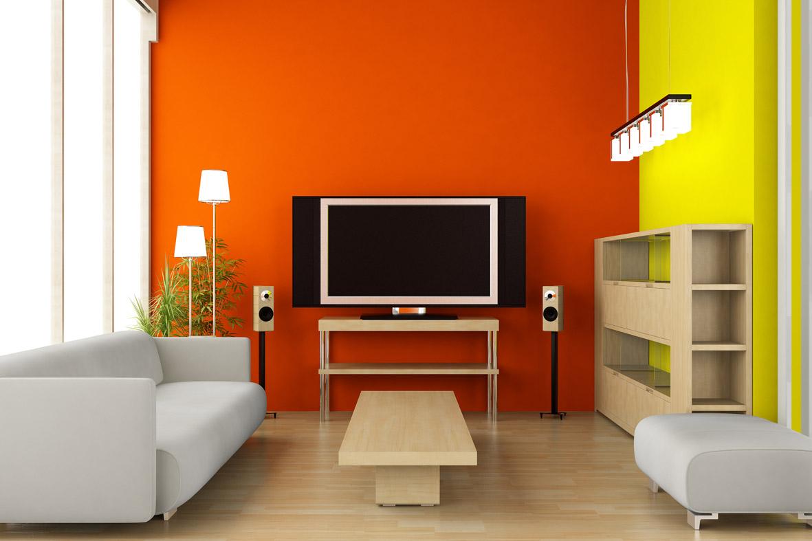 Interior with dark orange and yellow walls