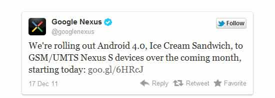 Google nexus s android ice cream sandwich ota update