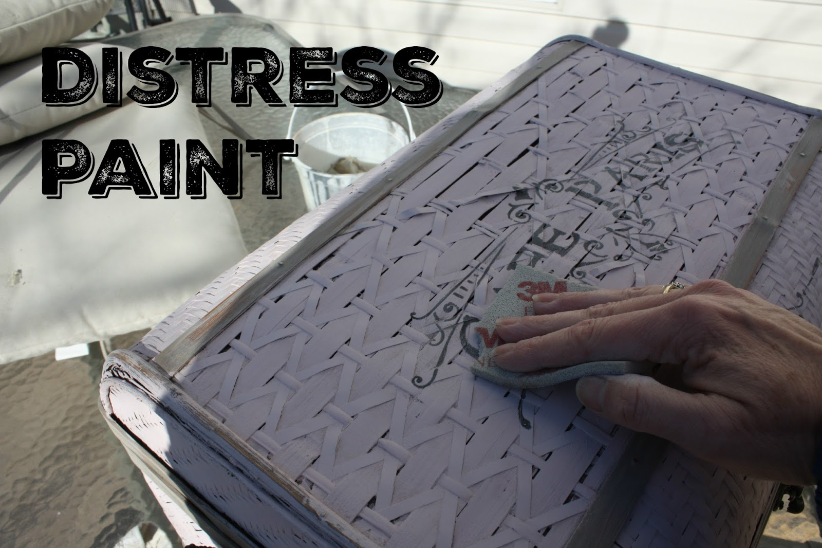 Use a sanding sponge to lightly distress the paint.