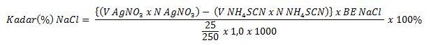 rumus menghitung kadar sampel pada titrasi metode volhard